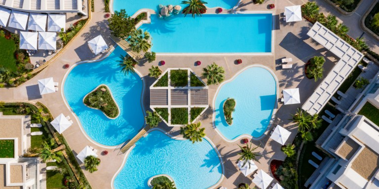 Porto Sani Pool Aerial View