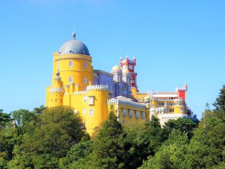 Palais National de Pena on the hilltop in Sintra
