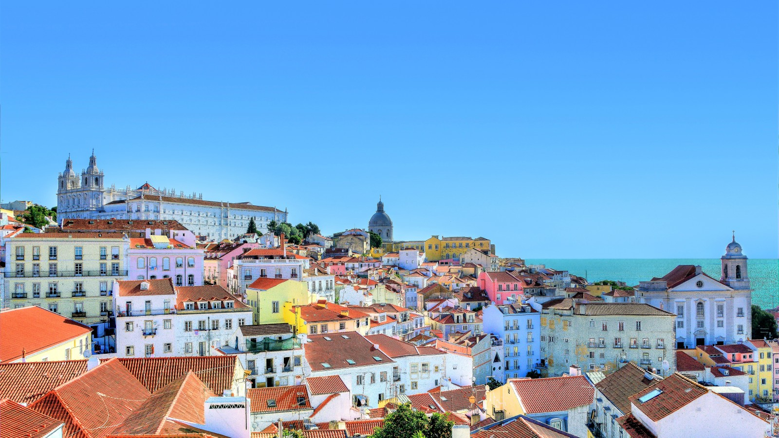 The colourful Alfama neighbourhood in Lisbon