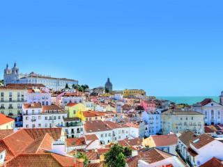 The colourful Alfama neighbourhood in Lisbon