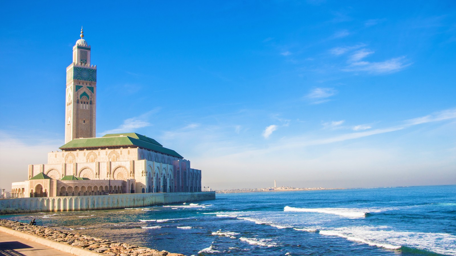 The rande Mosquée Hassan II is the largest mosque in Morocco and the fifth largest in the world