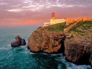The sun setting on Cabo de São Vicente, Sagres