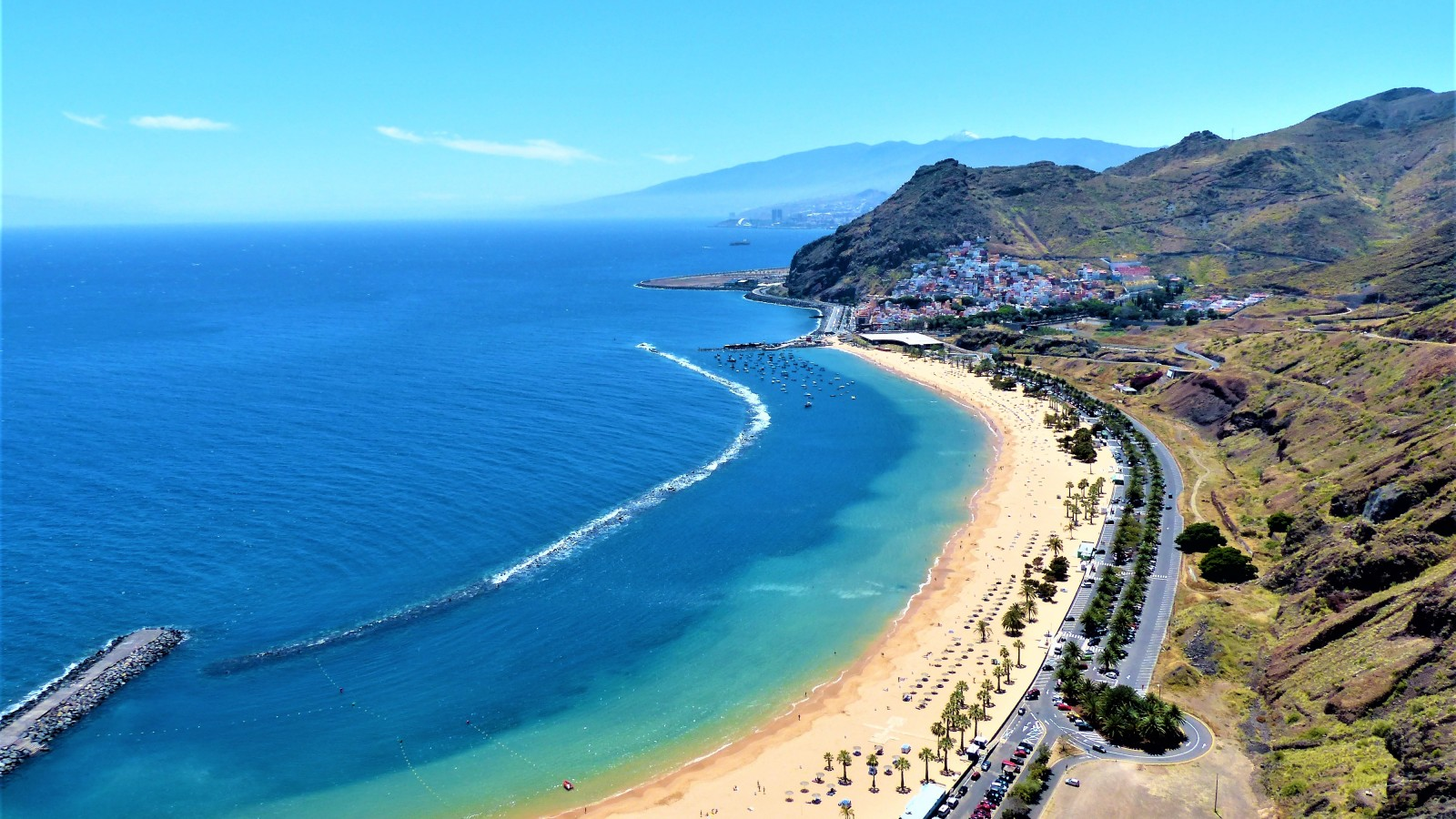 The sun-soaked coastline of Tenerife, the largest of the Canary Islands