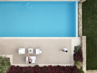 Aerial shot of private pool at Sani Club